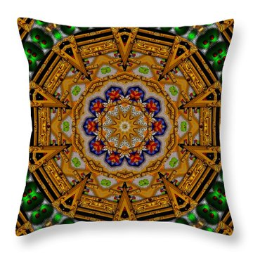 The Golden Sacred Mandala In Wood Throw Pillow by Pepita Selles