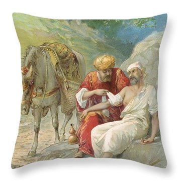 The Good Samaritan Throw Pillow by Ambrose Dudley