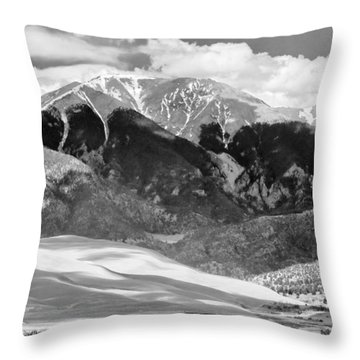 The Great Sand Dune Valley Bw Throw Pillow by James BO  Insogna