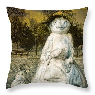 The Grunge Snowperson And Small Goth Friend Throw Pillow by Chris Lord