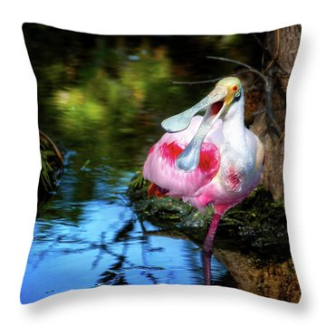 The Happy Spoonbill Throw Pillow by Mark Andrew Thomas
