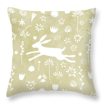 The Hare In The Meadow Throw Pillow by Nic Squirrell
