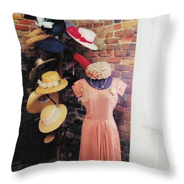 The Hat Rack Throw Pillow by Jan Amiss Photography