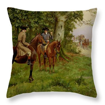 The Highwaymen Throw Pillow by George Derville Rowlandson