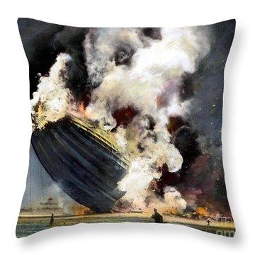 The Hindenburg, 1937 Throw Pillow by Granger