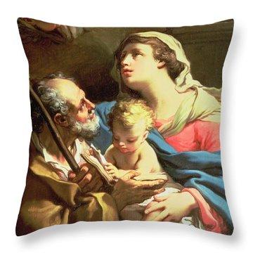 The Holy Family Throw Pillow by Gaetano Gandolfi