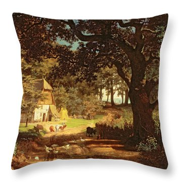 The House In The Woods Throw Pillow by Albert Bierstadt