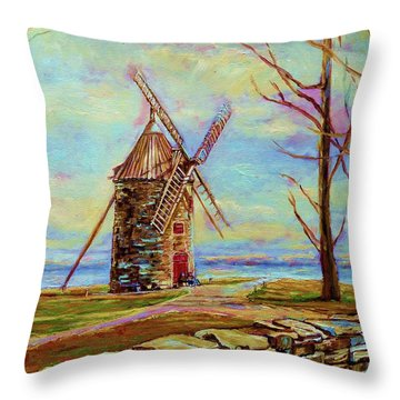 The Ile Perrot Windmill Moulin Ile Perrot Quebec Throw Pillow by Carole Spandau