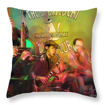 The Jazz Vipers In New Orleans 02 Throw Pillow by Miki De Goodaboom