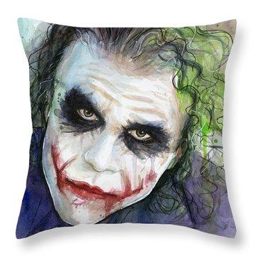The Joker Watercolor Throw Pillow by Olga Shvartsur
