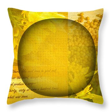 The Kingdom Of God Is Like A Mustard Seed Throw Pillow by Ruth Palmer