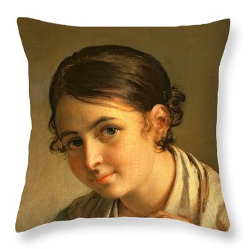 The Lacemaker Throw Pillow by Vasili Andreevich Tropinin