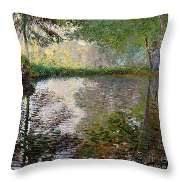 The Lake At Montgeron Throw Pillow by Claude Monet