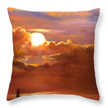 The Last Cast Throw Pillow by Jack Skinner