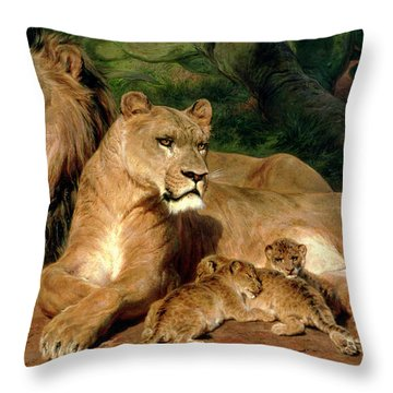 The Lions At Home Throw Pillow by Rosa Bonheur