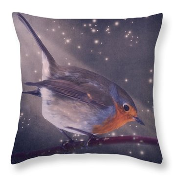 The Little Robin At The Night Throw Pillow by Angela Doelling AD DESIGN Photo and PhotoArt
