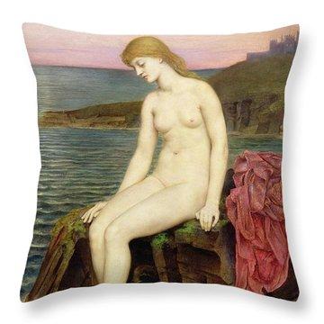 The Little Sea Maid  Throw Pillow by Evelyn De Morgan