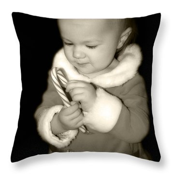 The Littlest Elf Throw Pillow by Laura Brightwood