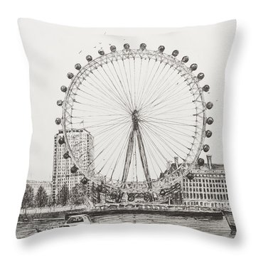 The London Eye Throw Pillow by Vincent Alexander Booth