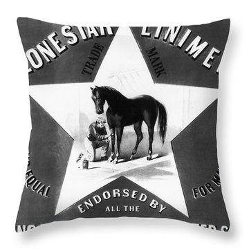 The Lonestar Liniment Throw Pillow by Digital Reproductions