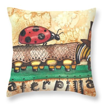The Mad Caterpillar Throw Pillow by Sheri Athwal