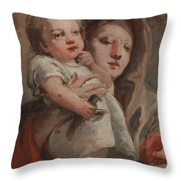 The Madonna And Child With A Goldfinch Throw Pillow by Tiepolo