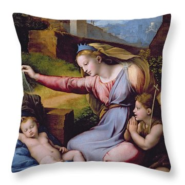 The Madonna Of The Veil Throw Pillow by Raphael