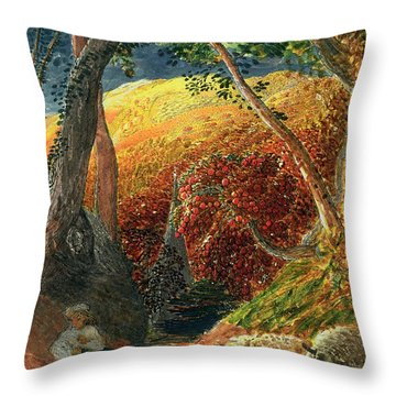 The Magic Apple Tree Throw Pillow by Samuel Palmer