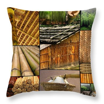 The Many Faces Of Bamboo Throw Pillow by Yali Shi