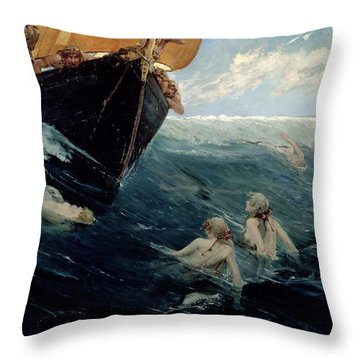 The Mermaid's Rock Throw Pillow by Edward Matthew Hale