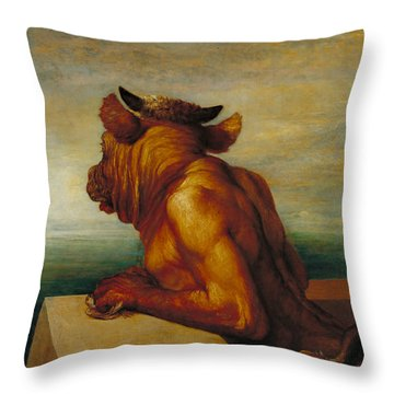 The Minotaur Throw Pillow by George Frederic Watts