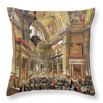 The Miracle Of The Liquefaction Of The Blood Of Saint Januarius Throw Pillow by Giacinto Gigante