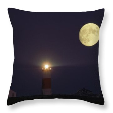 The Moon Shines Above The Sankaty Head Throw Pillow by James L. Stanfield