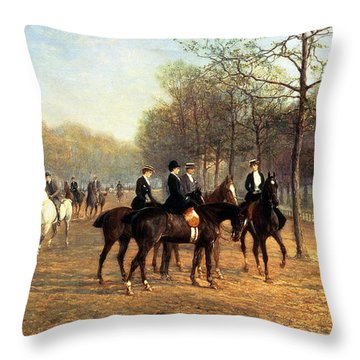 The Morning Ride Rotten Row Hyde Park Throw Pillow by Heywood Hardy