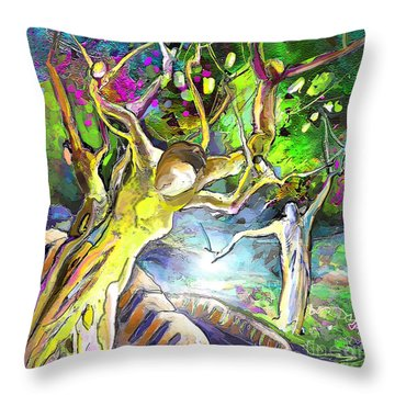 The Multiplication Of Bread Throw Pillow by Miki De Goodaboom
