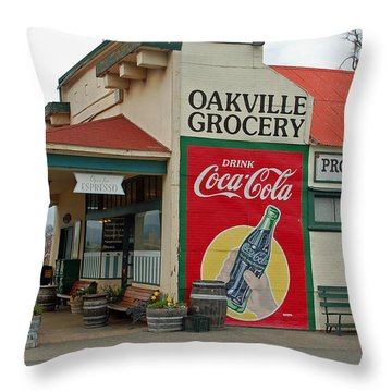 The Oakville Grocery Throw Pillow by Suzanne Gaff