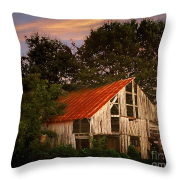 The Old Lowdermilk Barn - Red Roof Barn Rustic Country Rural Antique Throw Pillow by Jon Holiday