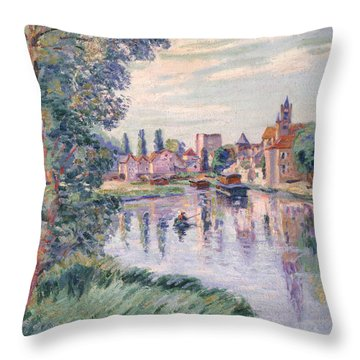 The Old Samois Throw Pillow by Jean Baptiste Armand Guillaumin