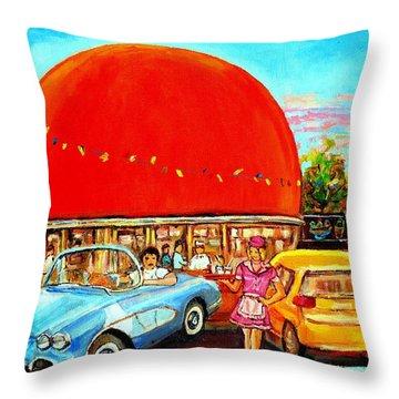 The Orange Julep Montreal Throw Pillow by Carole Spandau