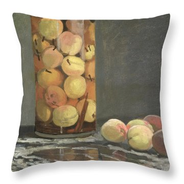 The Peach Glass Throw Pillow by Claude Monet