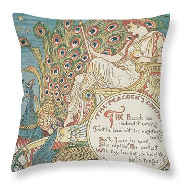 The Peacocks Complaint Throw Pillow by English School