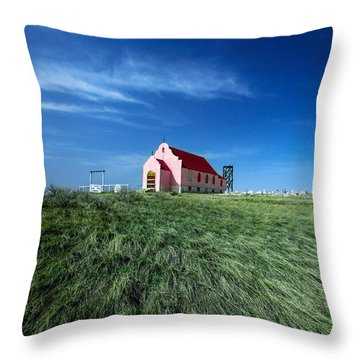 The Pink Church Throw Pillow by Todd Klassy