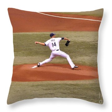 The Pitch - David Price Throw Pillow by John Black