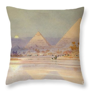 The Pyramids At Dusk Throw Pillow by Augustus Osborne Lamplough