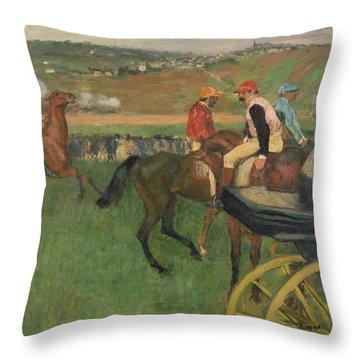 The Race Course Throw Pillow by Edgar Degas