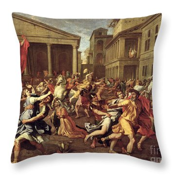 The Rape Of The Sabines Throw Pillow by Nicolas Poussin