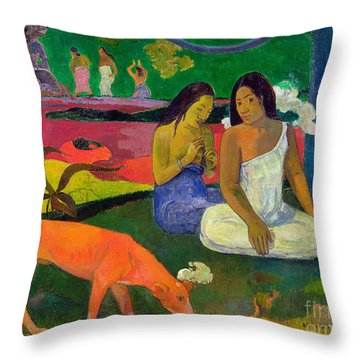 The Red Dog Throw Pillow by Paul Gauguin