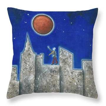The Red Moon Throw Pillow by Graciela Bello