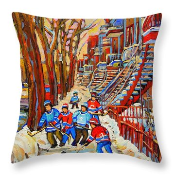 The Red Staircase Painting By Montreal Streetscene Artist Carole Spandau Throw Pillow by Carole Spandau