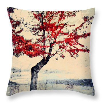 The Red Tree At Okanagan Lake Throw Pillow by Tara Turner